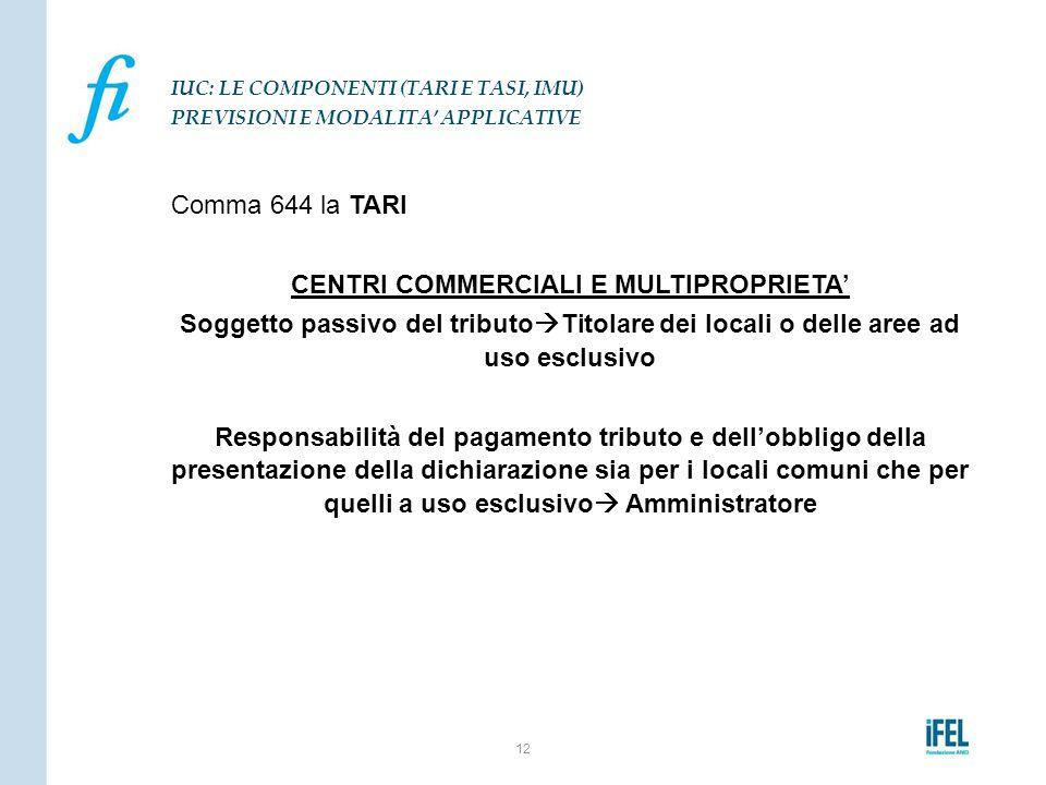Comma 644 la TARI CENTRI COMMERCIALI E MULTIPROPRIETA' Soggetto passivo del tributo  Titolare dei locali o delle aree ad uso esclusivo Responsabilità