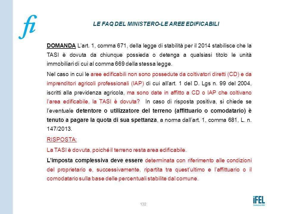 DOMANDA L'art. 1, comma 671, della legge di stabilità per il 2014 stabilisce che la TASI è dovuta da chiunque possieda o detenga a qualsiasi titolo le