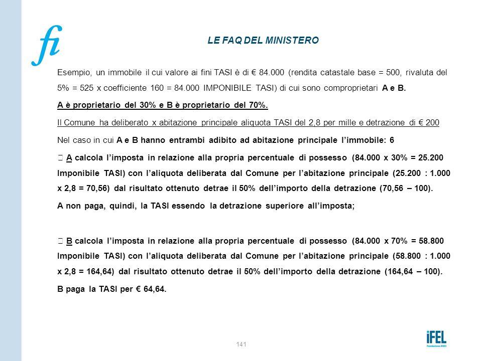 Esempio, un immobile il cui valore ai fini TASI è di € 84.000 (rendita catastale base = 500, rivaluta del 5% = 525 x coefficiente 160 = 84.000 IMPONIB