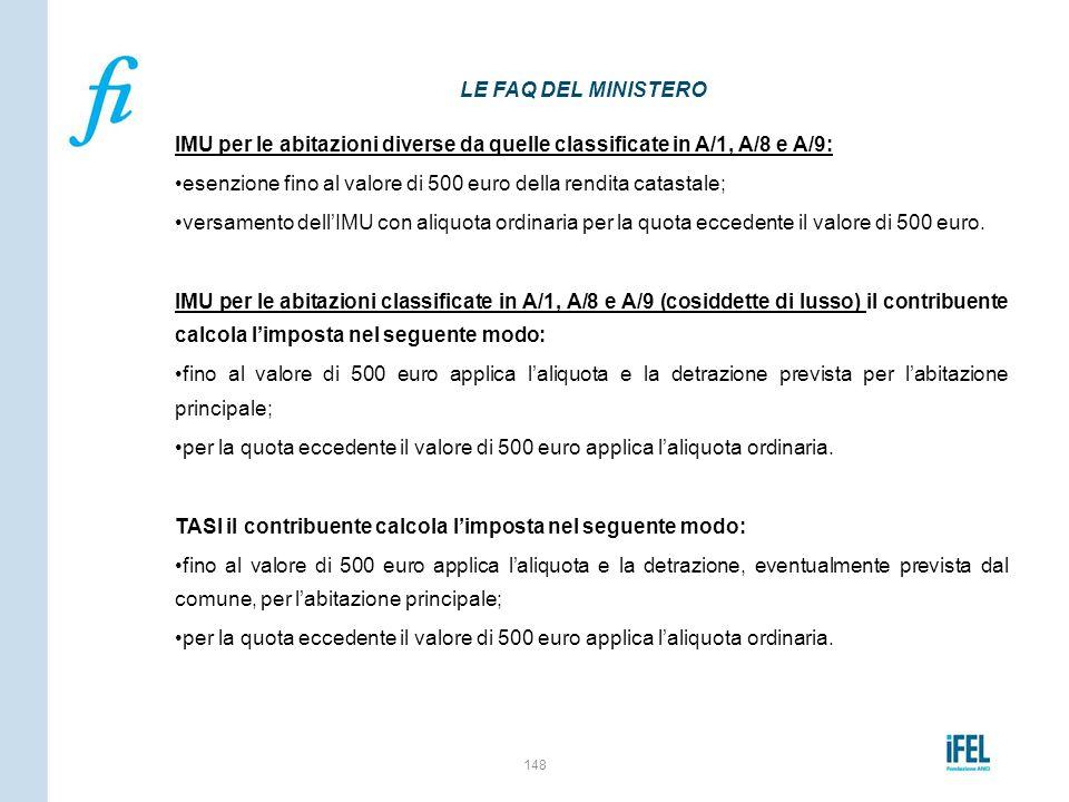 IMU per le abitazioni diverse da quelle classificate in A/1, A/8 e A/9: esenzione fino al valore di 500 euro della rendita catastale; versamento dell'