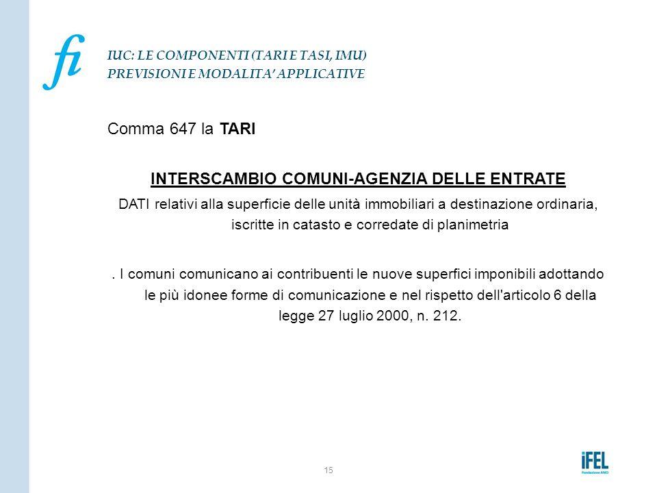 Comma 647 la TARI INTERSCAMBIO COMUNI-AGENZIA DELLE ENTRATE DATI relativi alla superficie delle unità immobiliari a destinazione ordinaria, iscritte i