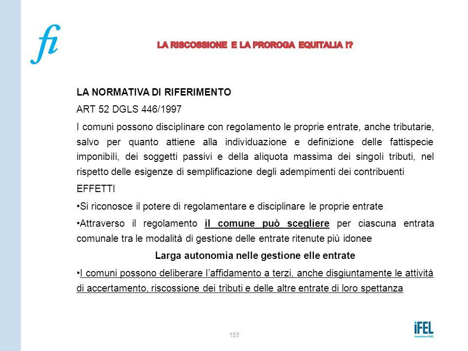 LA NORMATIVA DI RIFERIMENTO ART 52 DGLS 446/1997 I comuni possono disciplinare con regolamento le proprie entrate, anche tributarie, salvo per quanto