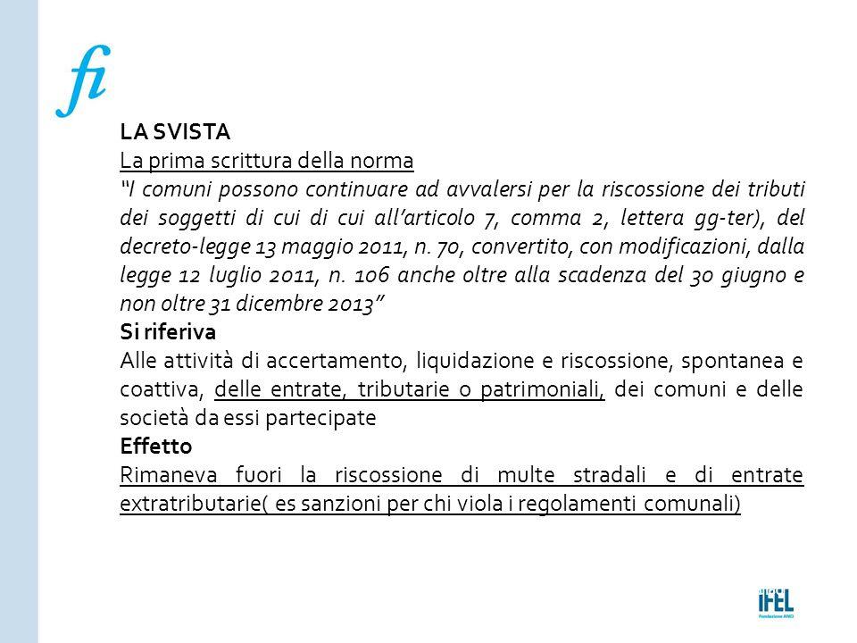 """Pagina 160ROMA10/07/2013 LA SVISTA La prima scrittura della norma """"I comuni possono continuare ad avvalersi per la riscossione dei tributi dei soggett"""