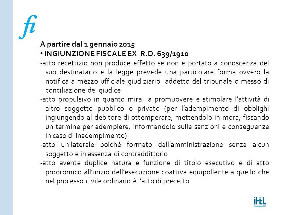Pagina 168ROMA10/07/2013 A partire dal 1 gennaio 2015 INGIUNZIONE FISCALE EX R.D. 639/1910 -atto recettizio non produce effetto se non è portato a con