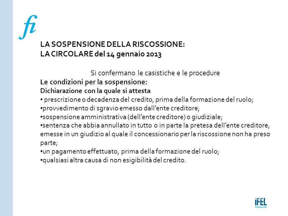 Pagina 170ROMA10/07/2013 LA SOSPENSIONE DELLA RISCOSSIONE: LA CIRCOLARE del 14 gennaio 2013 Si confermano le casistiche e le procedure Le condizioni p