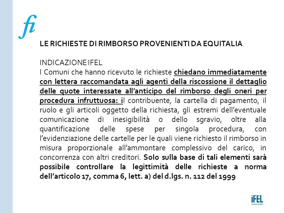 Pagina 175ROMA10/07/2013 LE RICHIESTE DI RIMBORSO PROVENIENTI DA EQUITALIA INDICAZIONE IFEL I Comuni che hanno ricevuto le richieste chiedano immediat