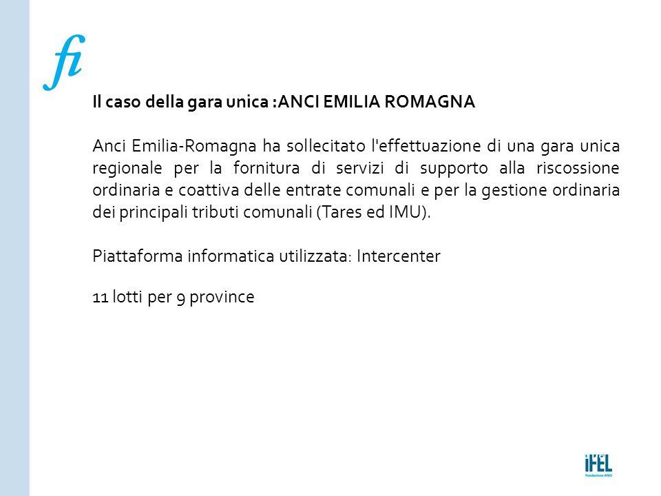 Pagina 176ROMA10/07/2013 Il caso della gara unica :ANCI EMILIA ROMAGNA Anci Emilia-Romagna ha sollecitato l'effettuazione di una gara unica regionale