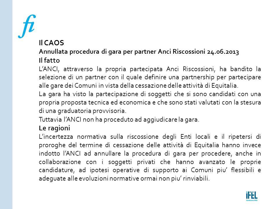 Pagina 178ROMA10/07/2013 Il CAOS Annullata procedura di gara per partner Anci Riscossioni 24.06.2013 Il fatto L'ANCI, attraverso la propria partecipat