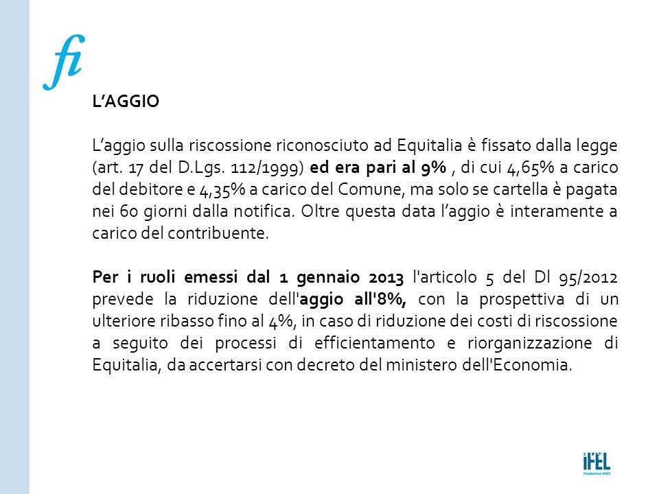 Pagina 179ROMA10/07/2013 L'AGGIO L'aggio sulla riscossione riconosciuto ad Equitalia è fissato dalla legge (art. 17 del D.Lgs. 112/1999) ed era pari a