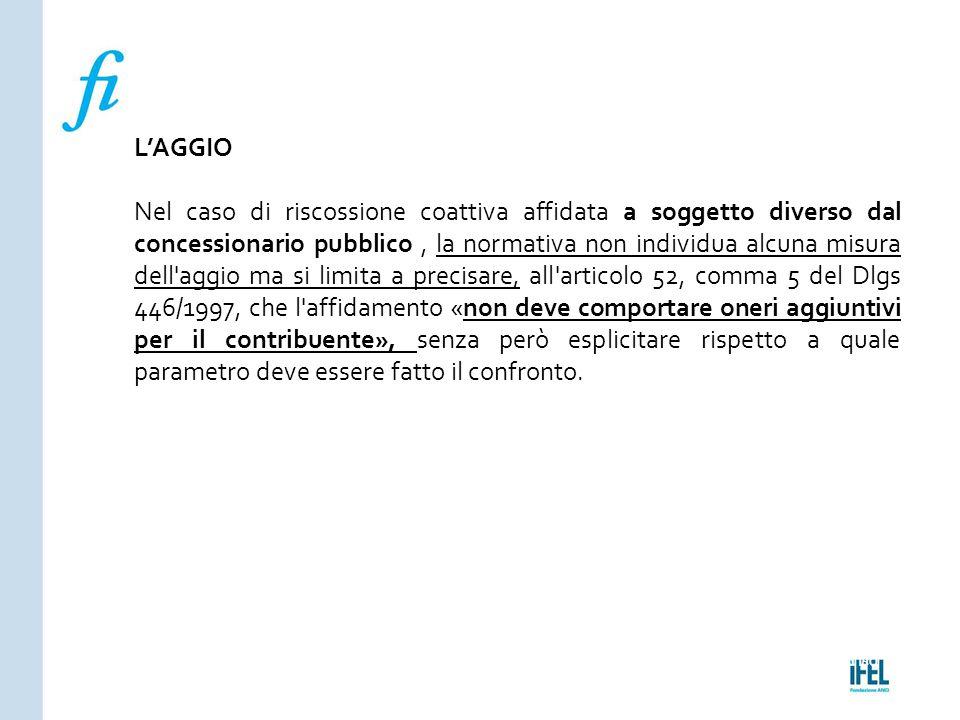 Pagina 180ROMA10/07/2013 L'AGGIO Nel caso di riscossione coattiva affidata a soggetto diverso dal concessionario pubblico, la normativa non individua