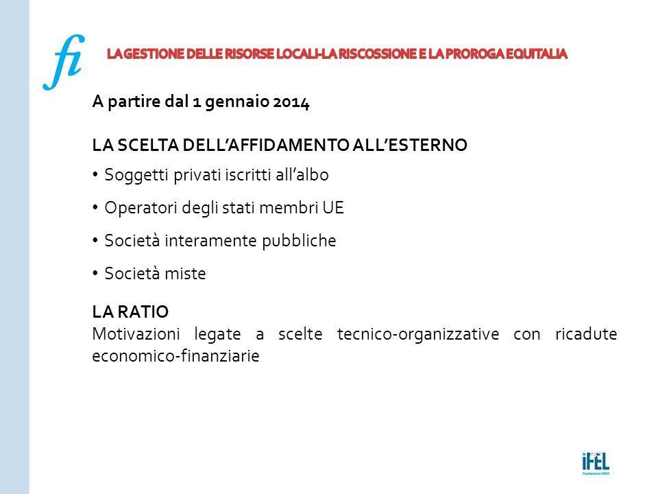 Pagina 185ROMA10/07/2013 A partire dal 1 gennaio 2014 LA SCELTA DELL'AFFIDAMENTO ALL'ESTERNO Soggetti privati iscritti all'albo Operatori degli stati