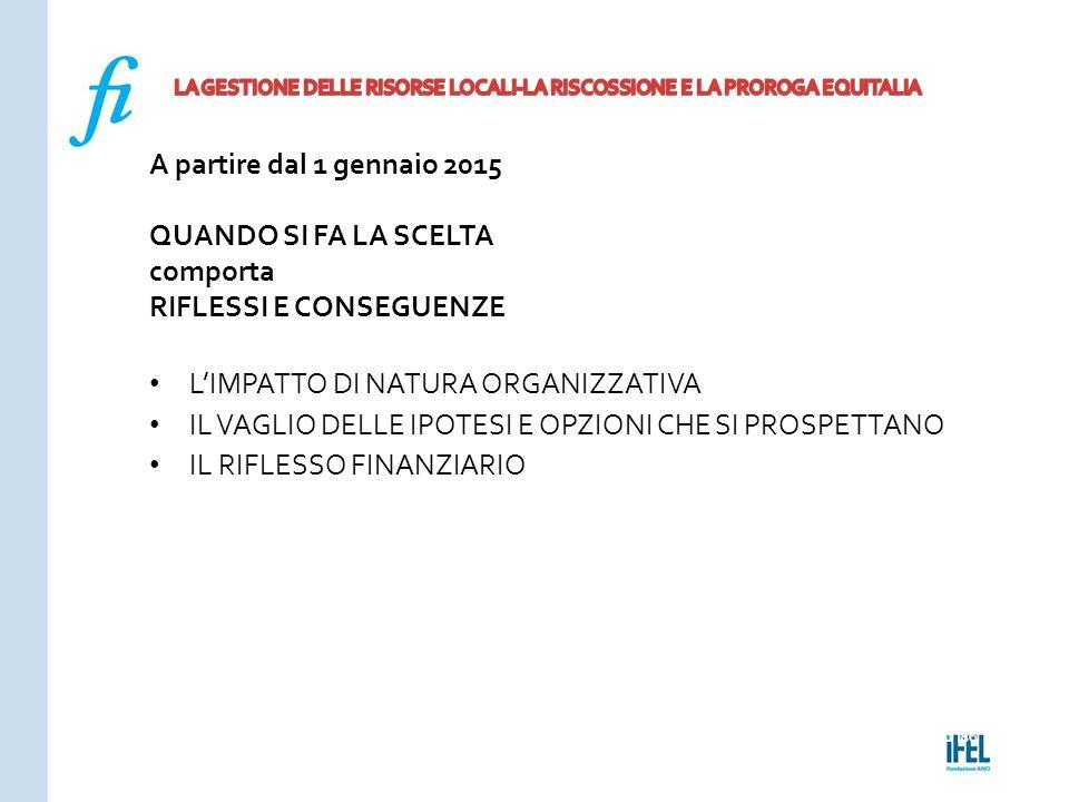 Pagina 186ROMA10/07/2013 A partire dal 1 gennaio 2015 QUANDO SI FA LA SCELTA comporta RIFLESSI E CONSEGUENZE L'IMPATTO DI NATURA ORGANIZZATIVA IL VAGL