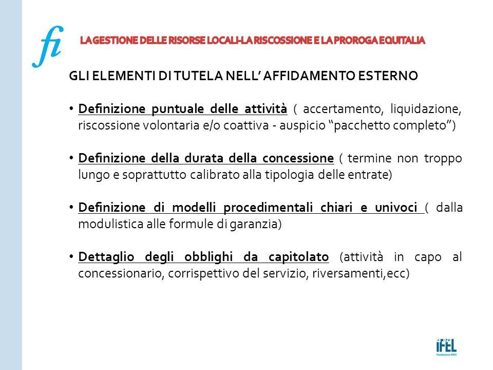 Pagina 191ROMA10/07/2013 GLI ELEMENTI DI TUTELA NELL' AFFIDAMENTO ESTERNO Definizione puntuale delle attività ( accertamento, liquidazione, riscossion