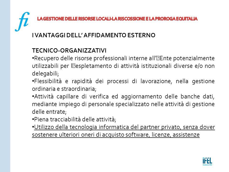 Pagina 200ROMA10/07/2013 I VANTAGGI DELL' AFFIDAMENTO ESTERNO TECNICO-ORGANIZZATIVI Recupero delle risorse professionali interne all''Ente potenzialme