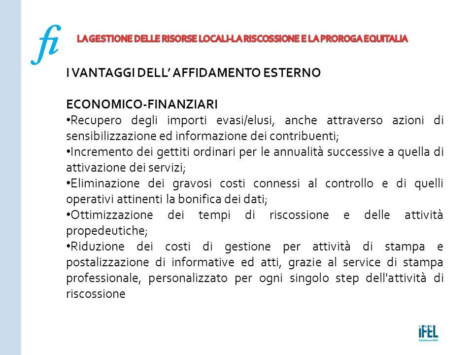 Pagina 201ROMA10/07/2013 I VANTAGGI DELL' AFFIDAMENTO ESTERNO ECONOMICO-FINANZIARI Recupero degli importi evasi/elusi, anche attraverso azioni di sens
