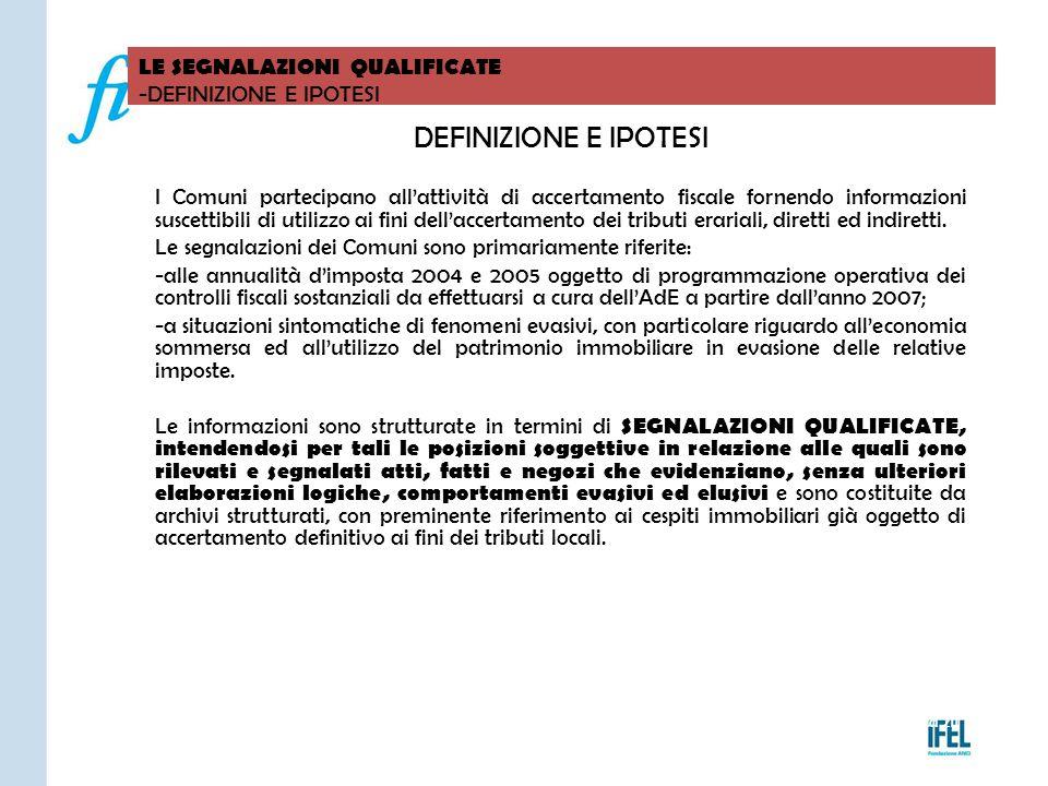 Pagina 211 LE SEGNALAZIONI QUALIFICATE -DEFINIZIONE E IPOTESI VITERBO04/11/2010 DEFINIZIONE E IPOTESI I Comuni partecipano all'attività di accertament