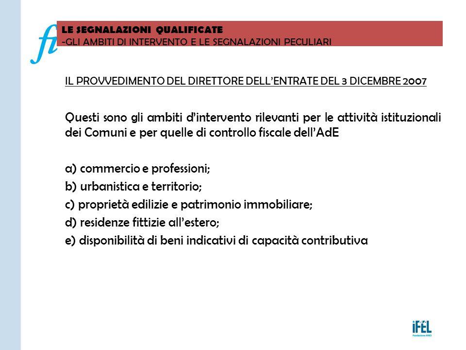 Pagina 212 LE SEGNALAZIONI QUALIFICATE -GLI AMBITI DI INTERVENTO E LE SEGNALAZIONI PECULIARI VITERBO04/11/2010 IL PROVVEDIMENTO DEL DIRETTORE DELL'ENT