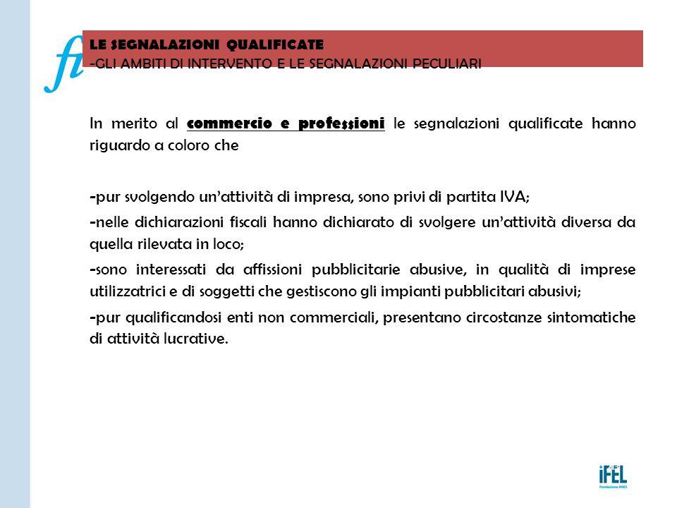 Pagina 213 LE SEGNALAZIONI QUALIFICATE -GLI AMBITI DI INTERVENTO E LE SEGNALAZIONI PECULIARI VITERBO04/11/2010 In merito al commercio e professioni le