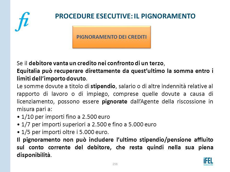 256 PROCEDURE ESECUTIVE: IL PIGNORAMENTO PIGNORAMENTO DEI CREDITI Se il debitore vanta un credito nei confronto di un terzo, Equitalia può recuperare