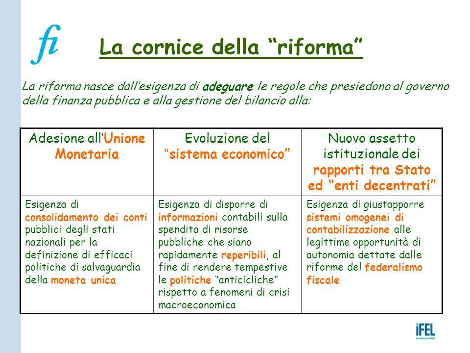 """La cornice della """"riforma"""" La riforma nasce dall'esigenza di adeguare le regole che presiedono al governo della finanza pubblica e alla gestione del b"""