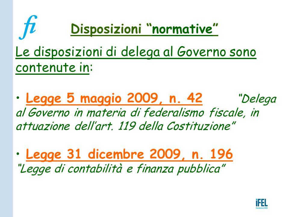 """Disposizioni """"normative"""" Le disposizioni di delega al Governo sono contenute in: Legge 5 maggio 2009, n. 42 """"Delega al Governo in materia di federalis"""