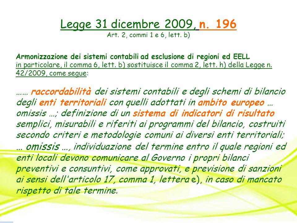 Legge 31 dicembre 2009, n. 196 Art. 2, commi 1 e 6, lett. b) Armonizzazione dei sistemi contabili ad esclusione di regioni ed EELL in particolare, il
