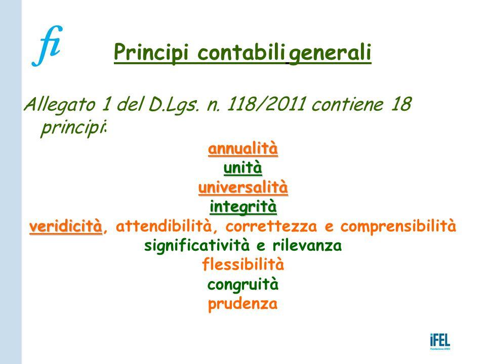 Principi contabili generali Allegato 1 del D.Lgs. n. 118/2011 contiene 18 principi:annualitàunitàuniversalitàintegrità veridicità veridicità, attendib