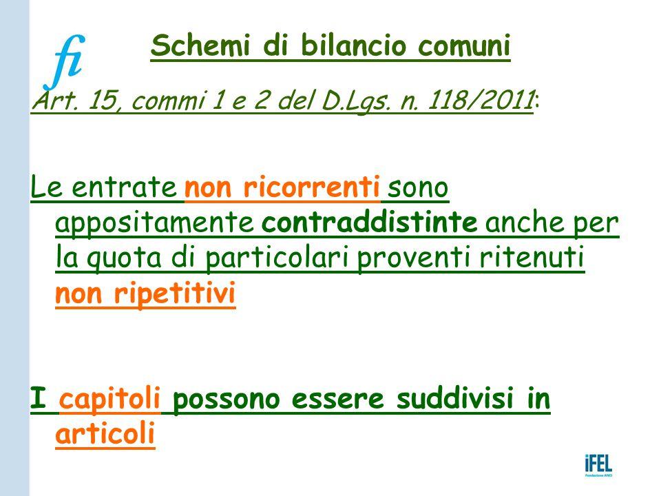Schemi di bilancio comuni Art. 15, commi 1 e 2 del D.Lgs. n. 118/2011: Le entrate non ricorrenti sono appositamente contraddistinte anche per la quota