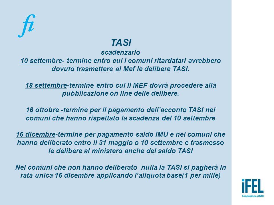 TASI scadenzario 10 settembre- termine entro cui i comuni ritardatari avrebbero dovuto trasmettere al Mef le delibere TASI. 18 settembre-termine entro
