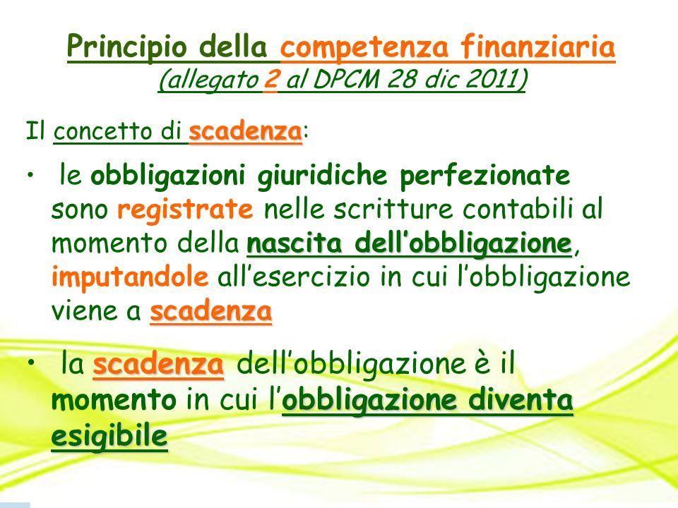 Principio della competenza finanziaria (allegato 2 al DPCM 28 dic 2011) scadenza Il concetto di scadenza : nascita dell'obbligazione scadenza le obbli