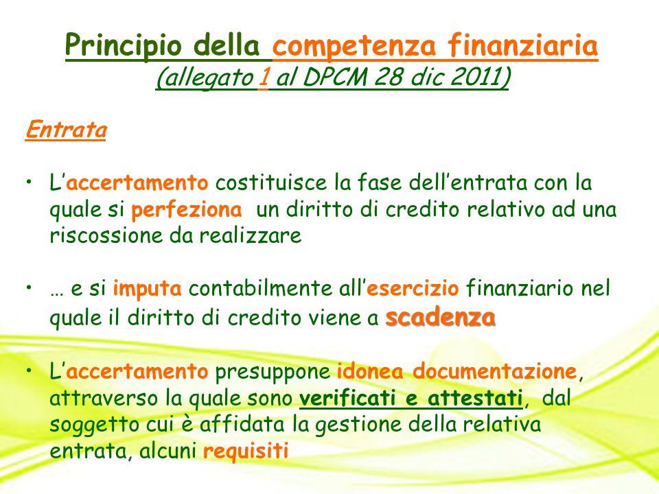 Principio della competenza finanziaria (allegato 1 al DPCM 28 dic 2011) Entrata L'accertamento costituisce la fase dell'entrata con la quale si perfez