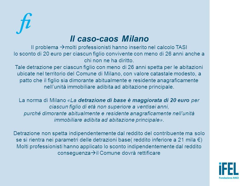 Il caso-caos Milano Il problema  molti professionisti hanno inserito nel calcolo TASI lo sconto di 20 euro per ciascun figlio convivente con meno di