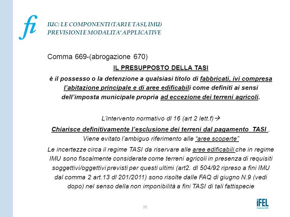 Comma 669-(abrogazione 670) IL PRESUPPOSTO DELLA TASI è il possesso o la detenzione a qualsiasi titolo di fabbricati, ivi compresa l'abitazione princi