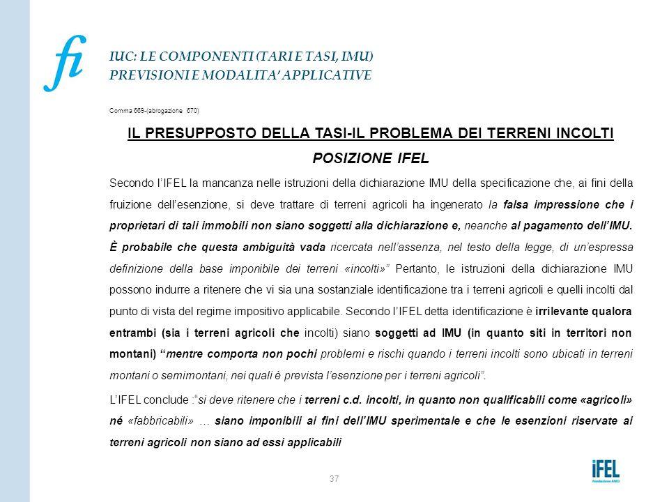 Comma 669-(abrogazione 670) IL PRESUPPOSTO DELLA TASI-IL PROBLEMA DEI TERRENI INCOLTI POSIZIONE IFEL Secondo l'IFEL la mancanza nelle istruzioni della