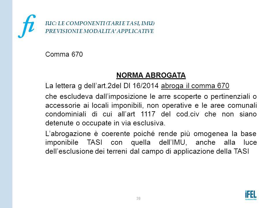 Comma 670 NORMA ABROGATA La lettera g dell'art.2del Dl 16/2014 abroga il comma 670 che escludeva dall'imposizione le arre scoperte o pertinenziali o a