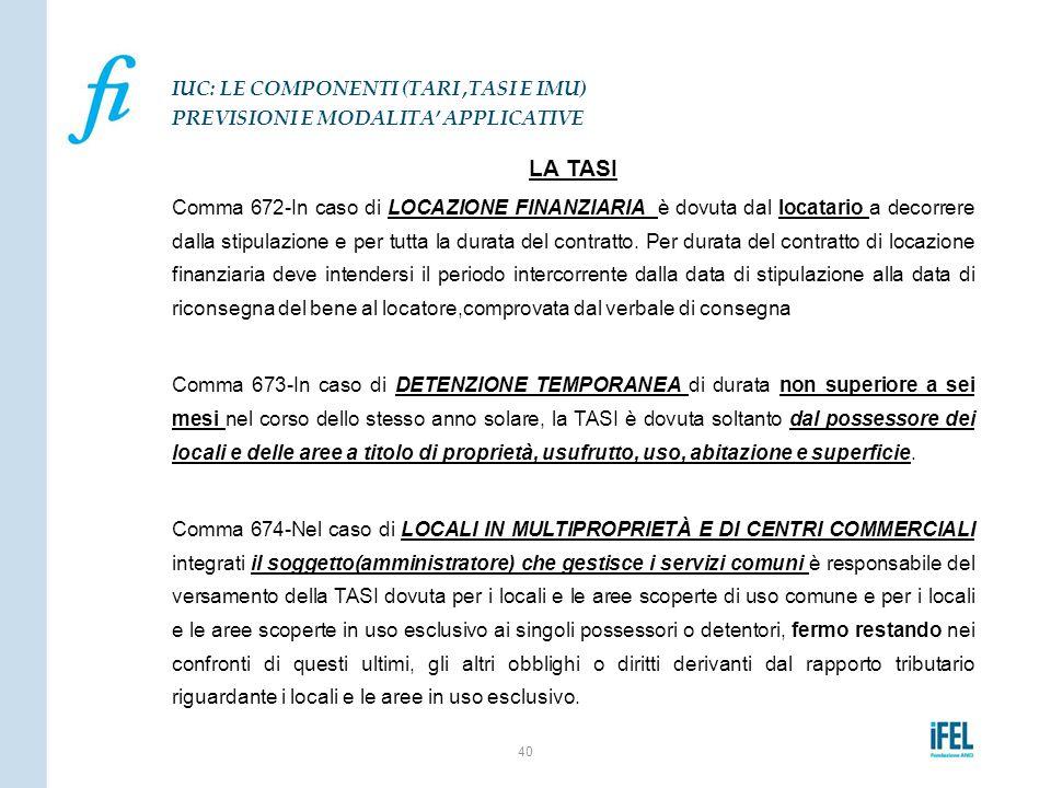 LA TASI Comma 672-In caso di LOCAZIONE FINANZIARIA è dovuta dal locatario a decorrere dalla stipulazione e per tutta la durata del contratto. Per dura