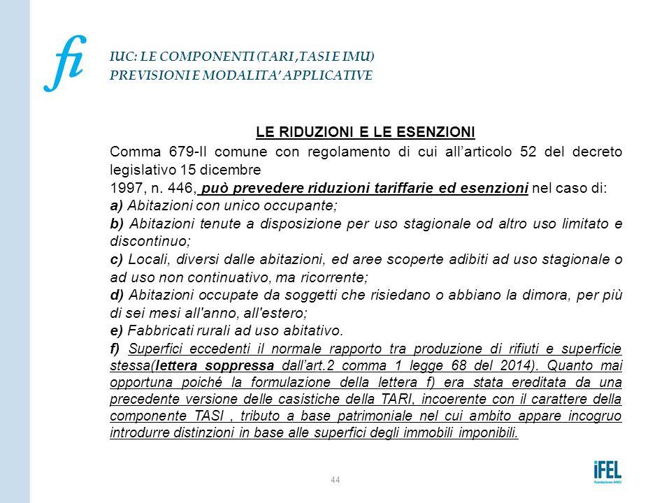 LE RIDUZIONI E LE ESENZIONI Comma 679-Il comune con regolamento di cui all'articolo 52 del decreto legislativo 15 dicembre 1997, n. 446, può prevedere