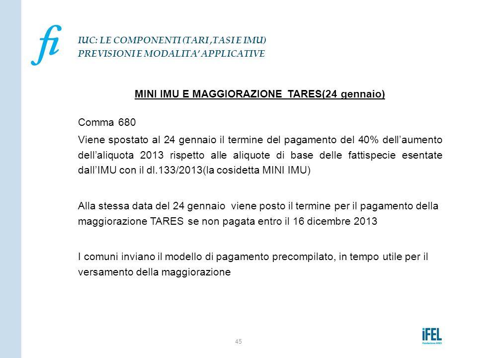 MINI IMU E MAGGIORAZIONE TARES(24 gennaio) Comma 680 Viene spostato al 24 gennaio il termine del pagamento del 40% dell'aumento dell'aliquota 2013 ris
