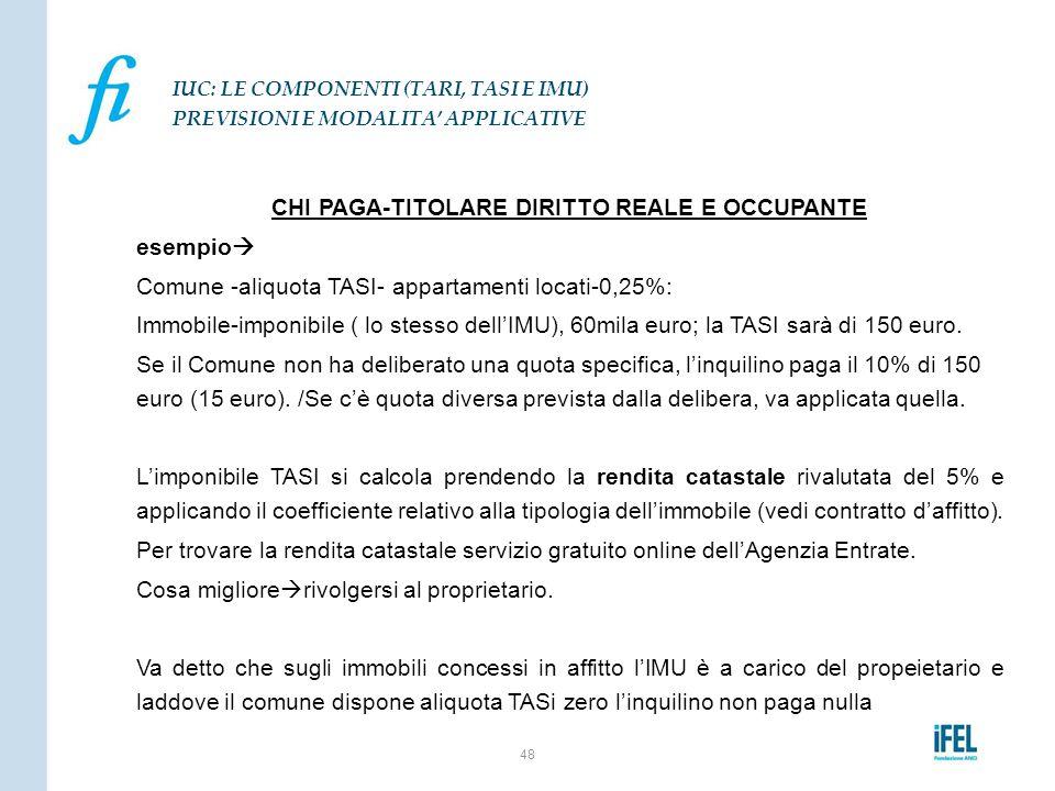 CHI PAGA-TITOLARE DIRITTO REALE E OCCUPANTE esempio  Comune -aliquota TASI- appartamenti locati-0,25%: Immobile-imponibile ( lo stesso dell'IMU), 60m