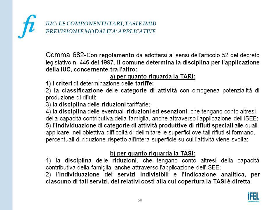 Comma 682- Con regolamento da adottarsi ai sensi dell'articolo 52 del decreto legislativo n. 446 del 1997, il comune determina la disciplina per l'app