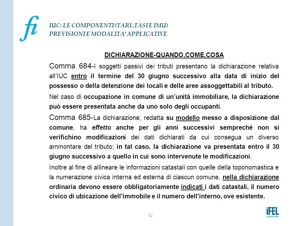 DICHIARAZIONE-QUANDO,COME,COSA Comma 684- I soggetti passivi dei tributi presentano la dichiarazione relativa all'IUC entro il termine del 30 giugno s
