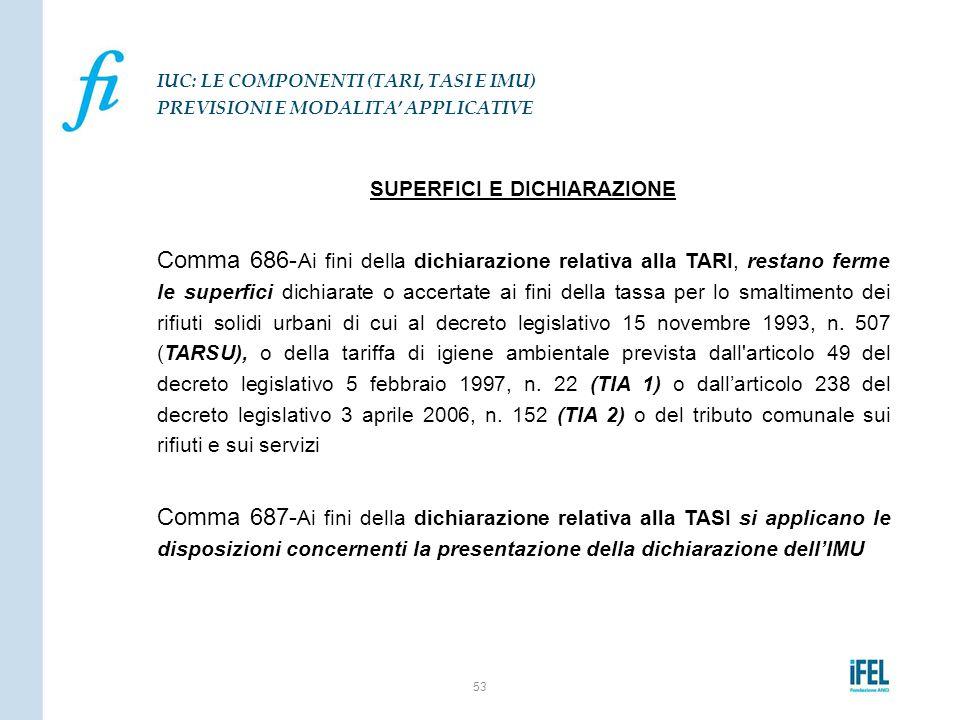 SUPERFICI E DICHIARAZIONE Comma 686- Ai fini della dichiarazione relativa alla TARI, restano ferme le superfici dichiarate o accertate ai fini della t