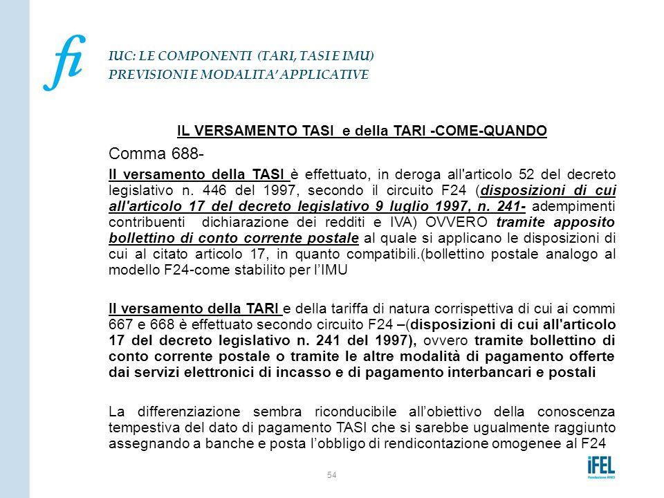 IL VERSAMENTO TASI e della TARI -COME-QUANDO Comma 688- Il versamento della TASI è effettuato, in deroga all'articolo 52 del decreto legislativo n. 44
