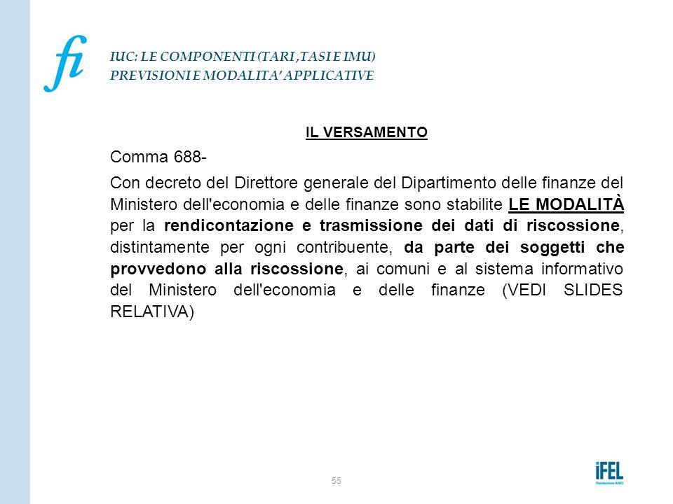 IL VERSAMENTO Comma 688- Con decreto del Direttore generale del Dipartimento delle finanze del Ministero dell'economia e delle finanze sono stabilite
