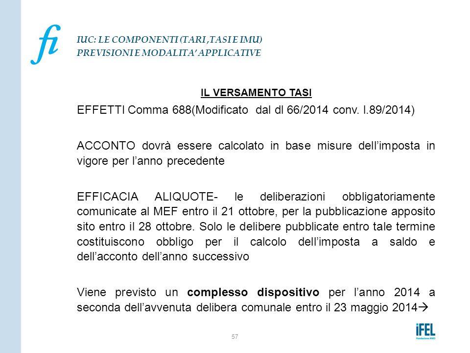 IL VERSAMENTO TASI EFFETTI Comma 688(Modificato dal dl 66/2014 conv. l.89/2014) ACCONTO dovrà essere calcolato in base misure dell'imposta in vigore p