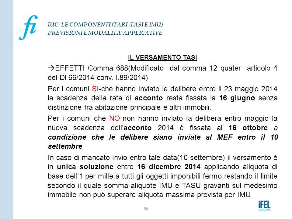 IL VERSAMENTO TASI  EFFETTI Comma 688(Modificato dal comma 12 quater articolo 4 del Dl 66/2014 conv. l.89/2014) Per i comuni SI-che hanno inviato le