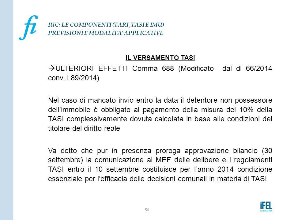 IL VERSAMENTO TASI  ULTERIORI EFFETTI Comma 688 (Modificato dal dl 66/2014 conv. l.89/2014) Nel caso di mancato invio entro la data il detentore non