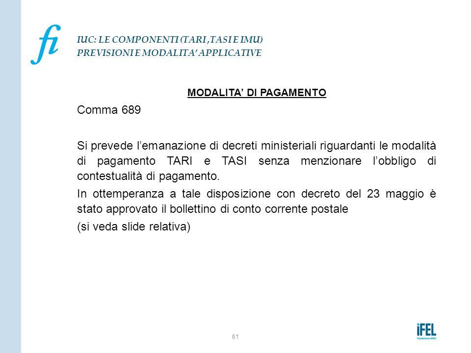 MODALITA' DI PAGAMENTO Comma 689 Si prevede l'emanazione di decreti ministeriali riguardanti le modalità di pagamento TARI e TASI senza menzionare l'o