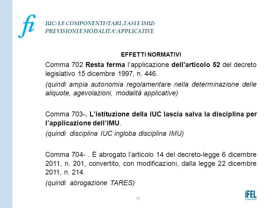 EFFETTI NORMATIVI Comma 702 Resta ferma l'applicazione dell'articolo 52 del decreto legislativo 15 dicembre 1997, n. 446. (quindi ampia autonomia rego