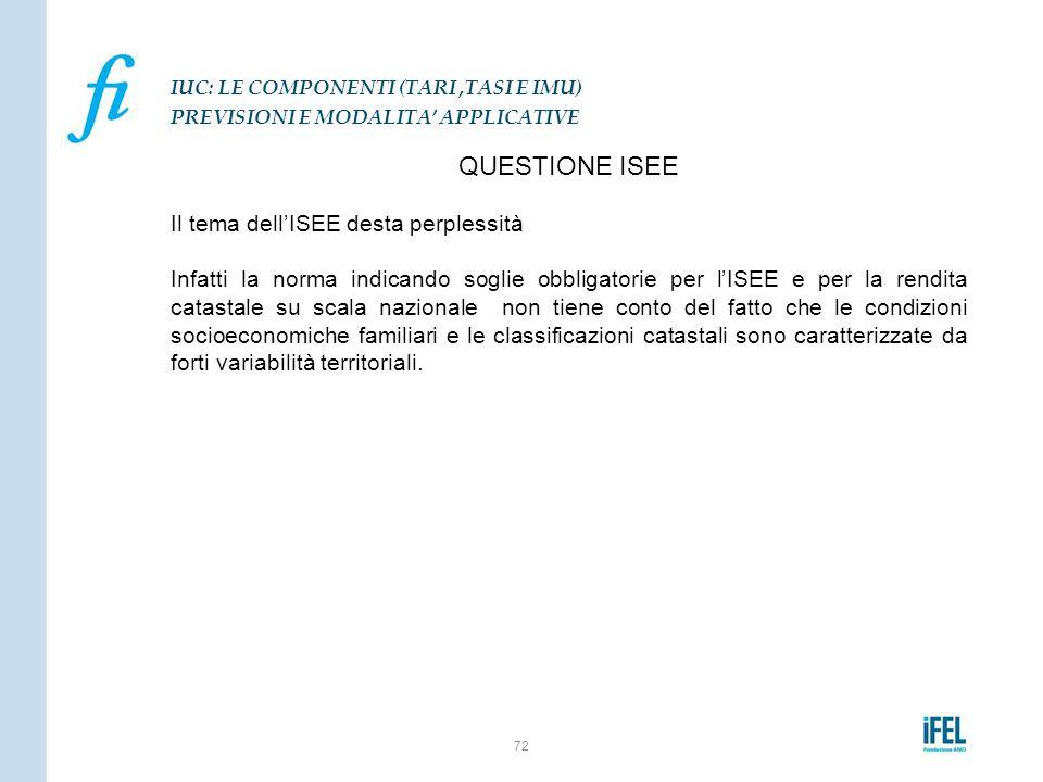 QUESTIONE ISEE Il tema dell'ISEE desta perplessità Infatti la norma indicando soglie obbligatorie per l'ISEE e per la rendita catastale su scala nazio